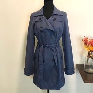 Old Navy Double-Breasted Blue Trench Coat